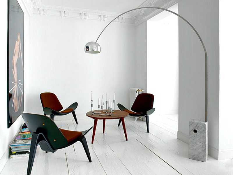Living room with arco floor lamp a modern ingredient the