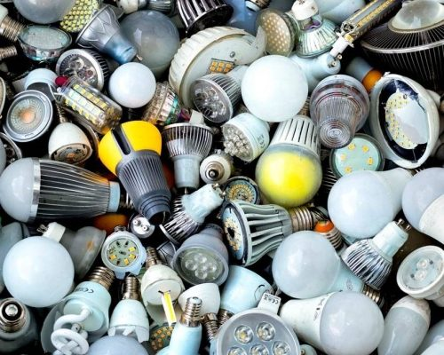 Most of the luminaires and lamps going into the recycling collections today are older light sources, not LED. (Photo credit: EucoLight member Recylum.)